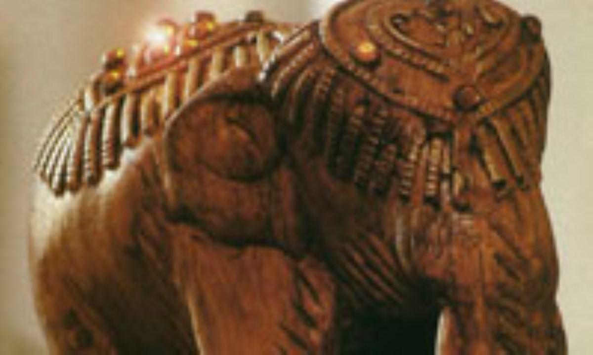 فيل با طرح چوب