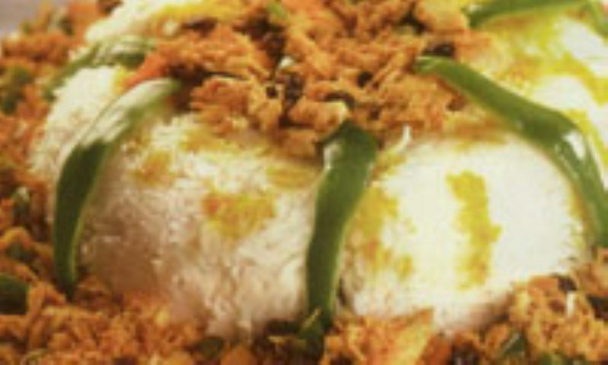 برنج قالبي با مرغ