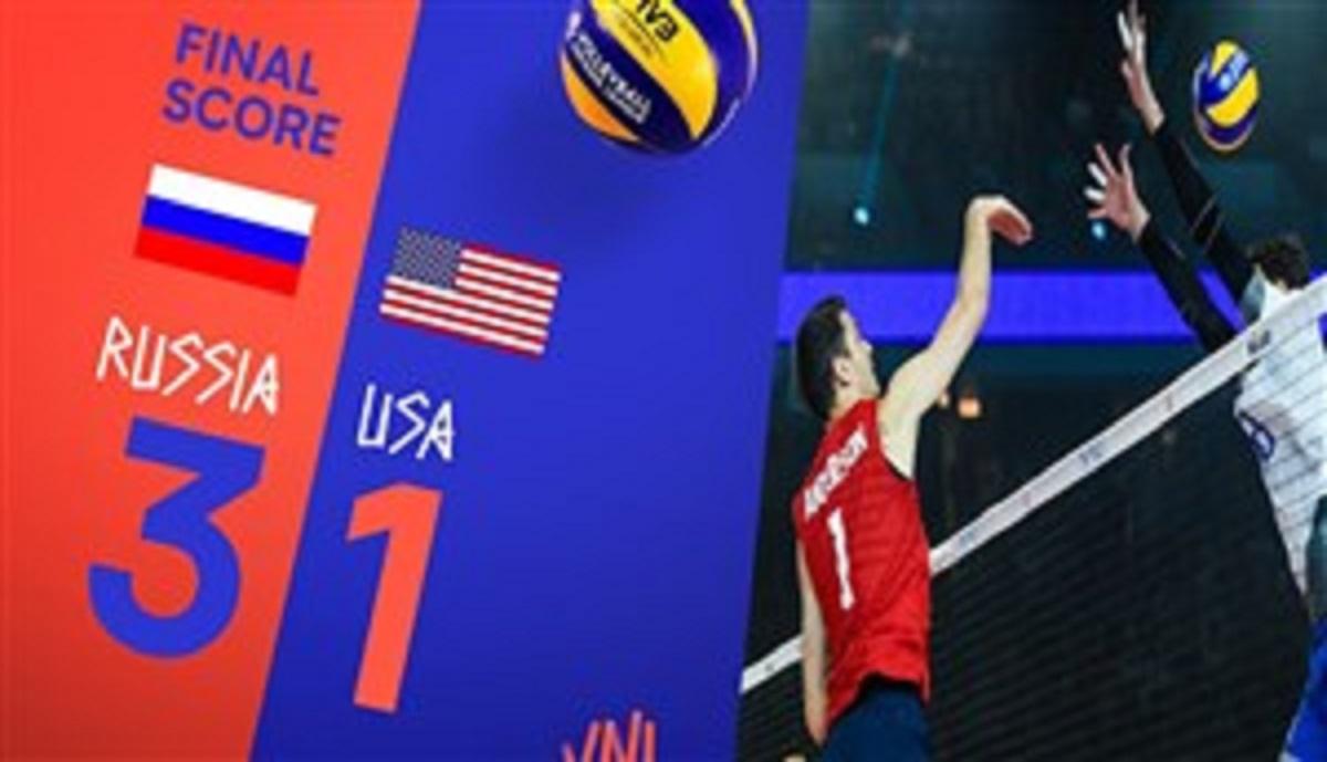 خلاصه والیبال روسیه 3 - آمریکا 1 ( لیگ والیبال ملت ها )