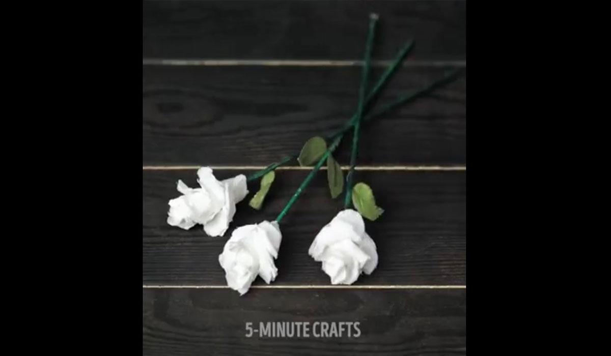 ترفند   ساخت گل با دستمال کاغذی