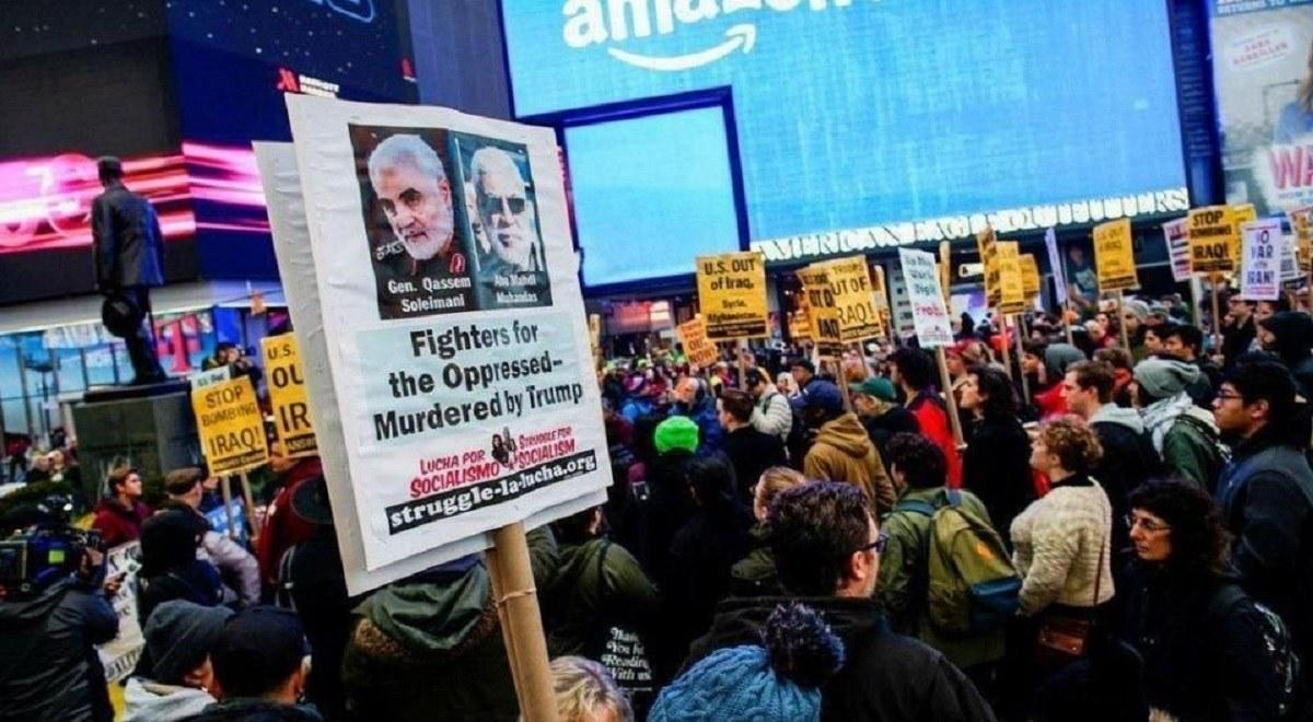 راهپیمایی معترضین ضدجنگ در آمریکا علیه اقدامات جنگ طلبانه ترامپ