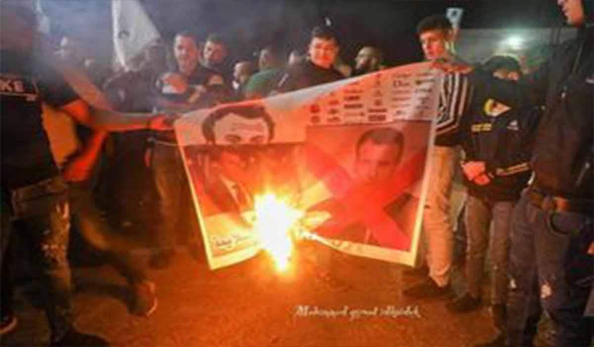 آتش زدن تصویر ماکرون در عراق