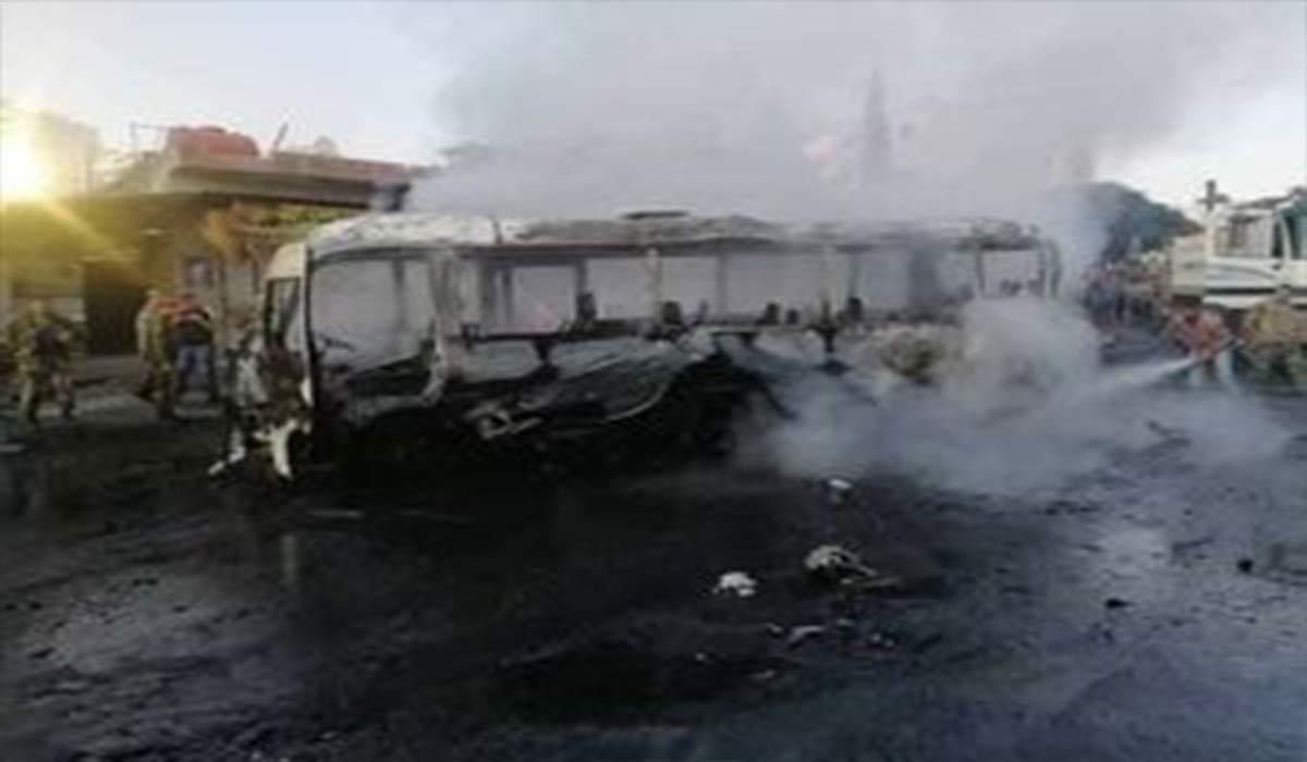 تصاویر انفجار اتوبوس در دمشق