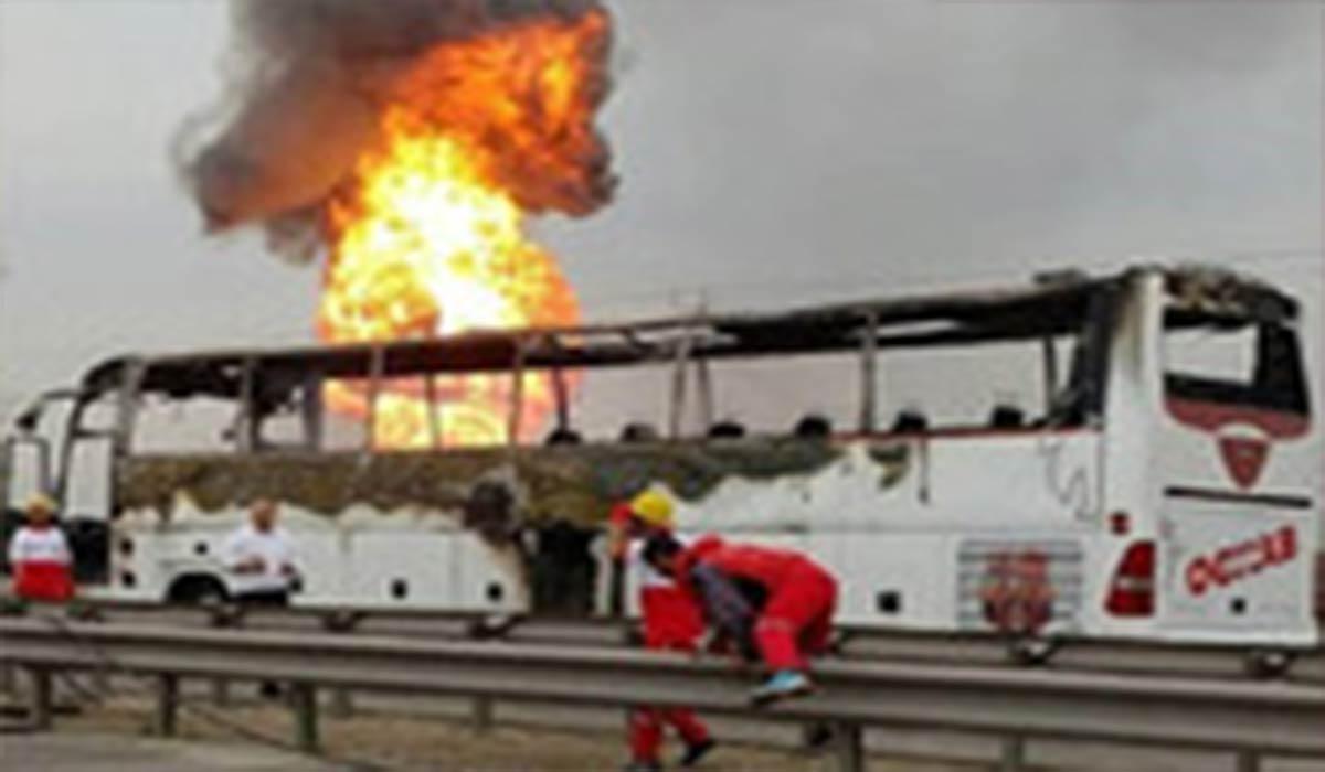 آتش سوزی اتوبوس شرکت واحد در تبریز