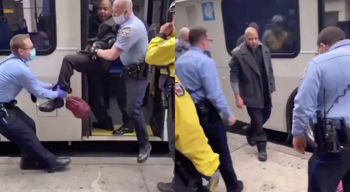 برخورد خشنونتبار پلیس فیلادلفیا با فردی که بدون ماسک سوار اتوبوس شده بود