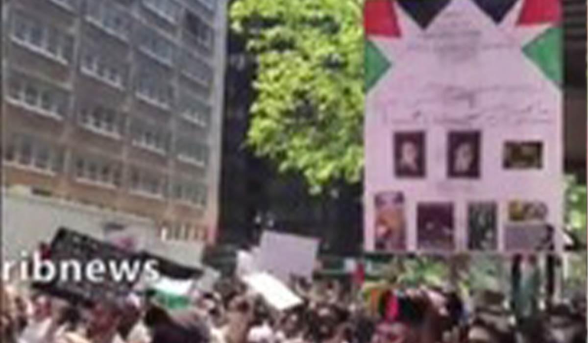 تظاهرات آمریکاییها برای فلسطین و تصویر امام،رهبر انقلاب و سیدحسن نصرالله