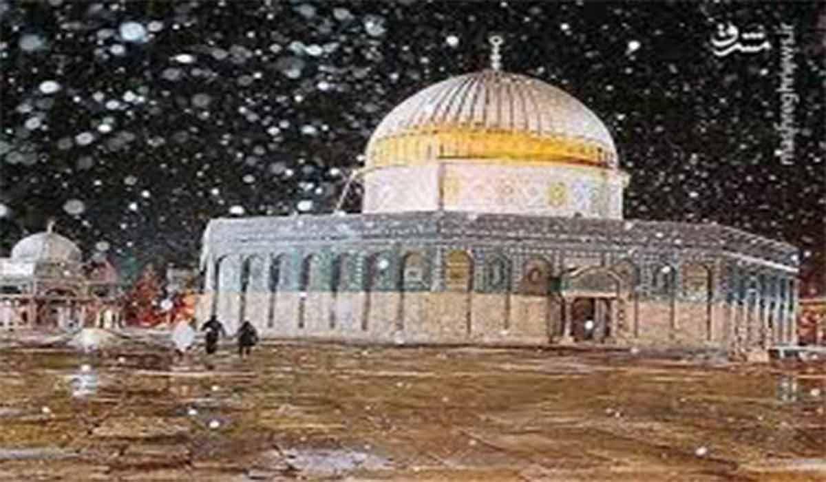 تصاویری دیدنی از بارش برف در مسجد الاقصی