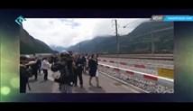نمایش شیطان پرستی در مراسم افتتاح تونلی در اروپا