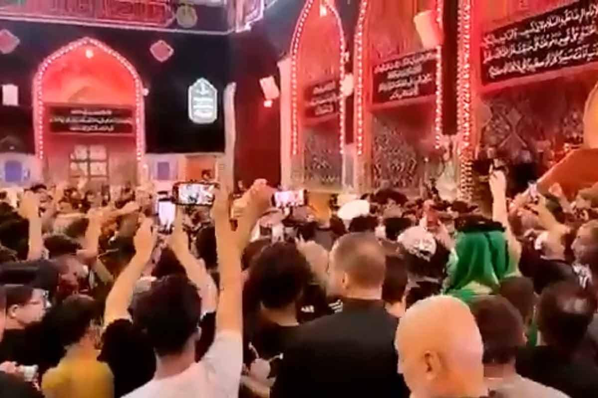 "شعار ""کلا کلا اسرائیل"" در حرم سید الشهدا (ع)"