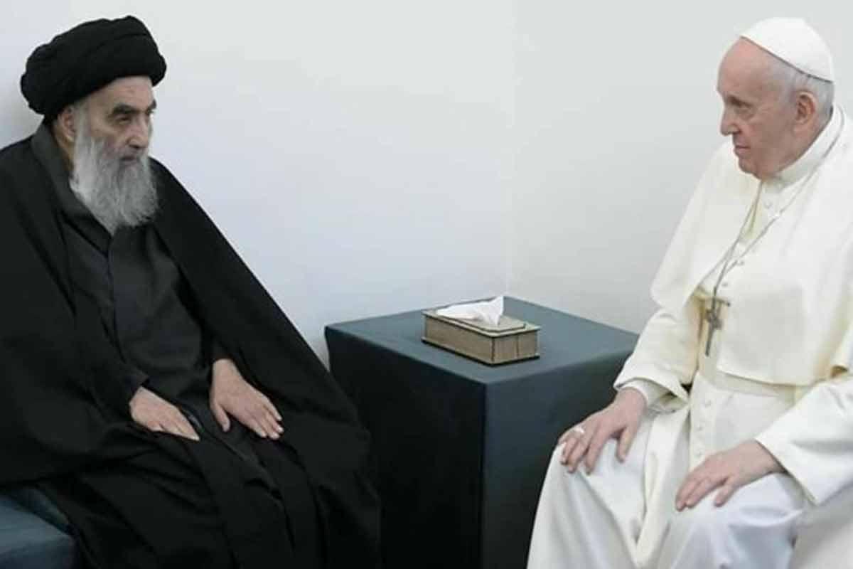 ورود پاپ به دفتر آیت الله سیستانی