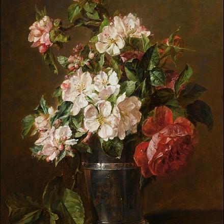 تابلوی نقاشی رنگ و روغن گلدان گل