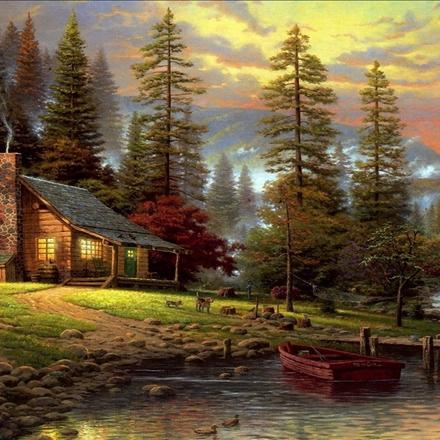 نقاشی رنگ و روغن طبیعت