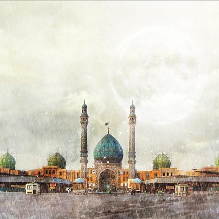 نمایی زیبا از مسجد جمکران