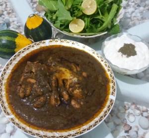 طرز تهیه غذای محلی ترشی تره با گوشت (گیلانی)