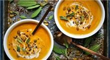 دستور پخت سوپ کدوی هویج گردویی