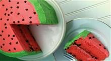 سه دستور تهیه برای کیک هندوانه ای خامه ای