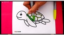 آموزش نقاشی به کودکان | لاکپشت شناور
