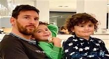 خوشحالی جالب فرزندان مسی پس از گلزنی پدر