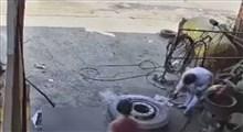 ویدیوی وحشتناک ترکیدن لاستیک!