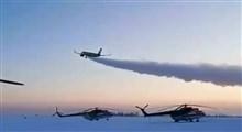 تیک آف هواپیما در یخبندان و برف