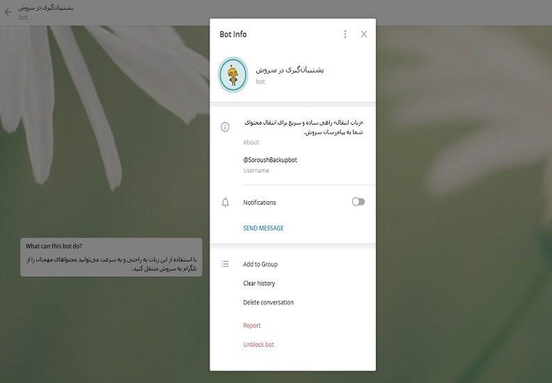 امکان انتقال اطلاعات از تلگرام به سروش فراهم شد + تصویر