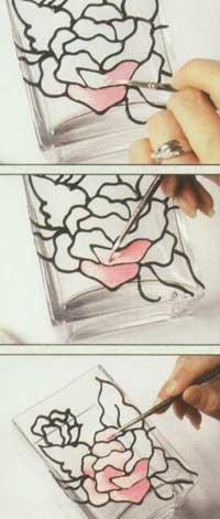 نقاشی روی شیشه ( جای کارد و چنگال )