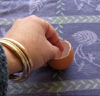 با استفاده از پوسته های تخم مرغ